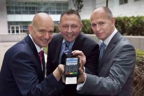 Andy White – Head of Sales Ireland & UK, EVO Payments International; (Centre) Sean Sheehan, Regional Director, UK Consumer and Small Business at Bank of Ireland UK, (Right) Niall Hodson – Chief Operating Officer, EVO Payments International