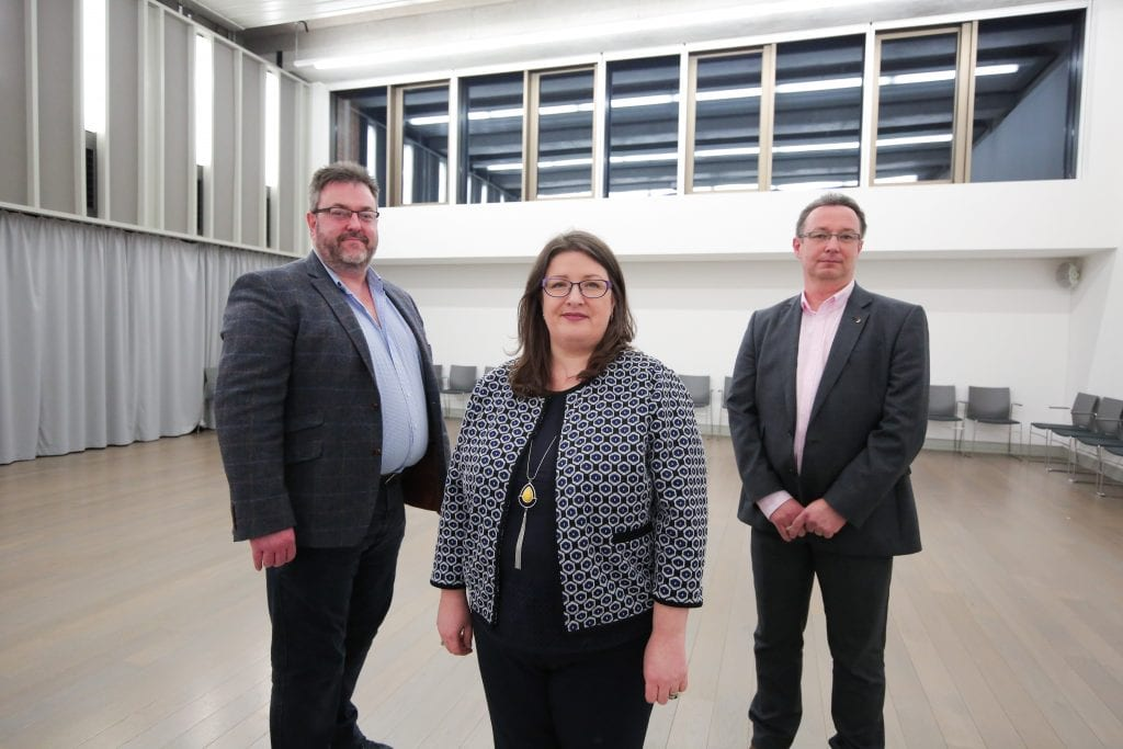 Professor Jonathan Wallace, Chair of the NI Engineering Policy Group (IET), Kellie Armstrong MLA, and Darren Capes, IET Fellow and Transport Systems Advisor
