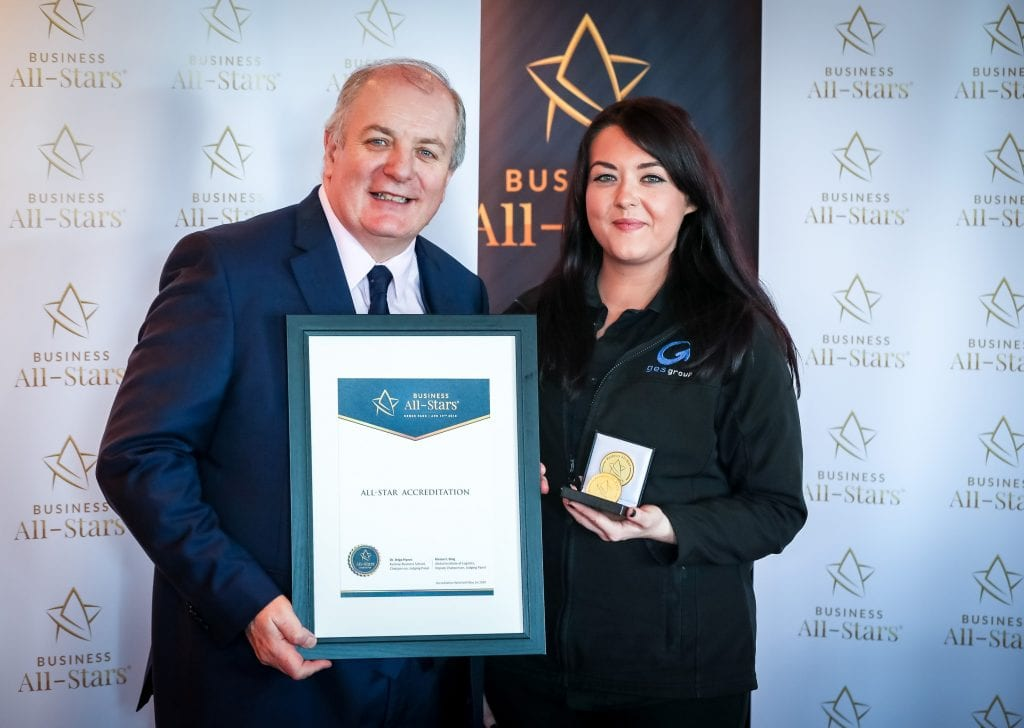 Pictured L-R - At the All-Star Accreditation Programme at the Fourth Annual All-Ireland Business Summit powered by Audi at Croke Park were Master of Ceremonies, Gavin Duffy, and Rachel Doherty, HSQE & Marketing Manager of GES Group.