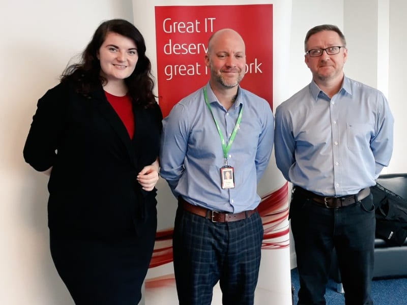 Emma Chappell from Autistica Corporate Partnerships is pictured with Craig Hall, Head of Fujitsu Charity Corporate Partnership and Seamus Melaugh, a Fujitsu 'Charity Champion'.