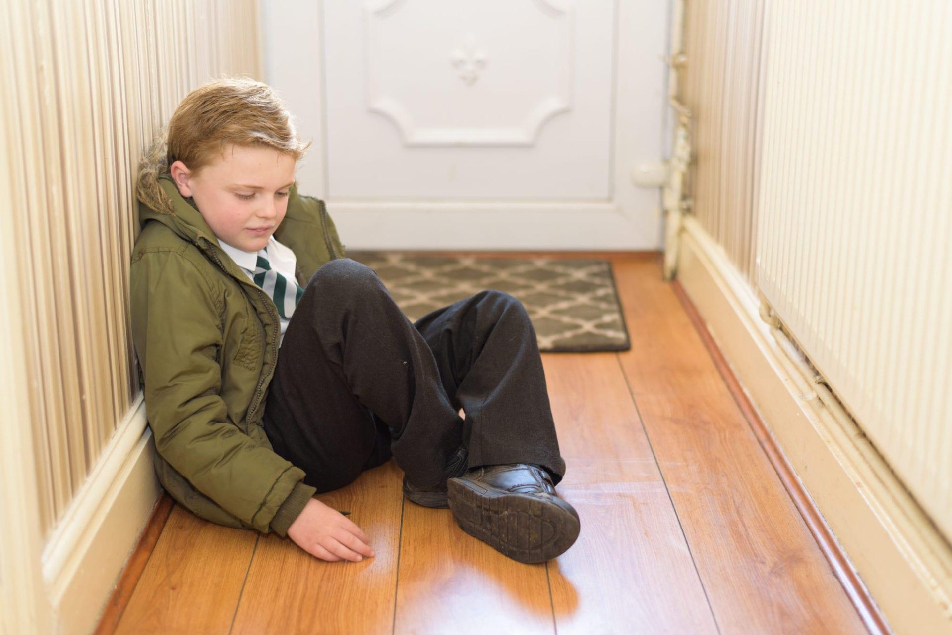 wearing school uniform